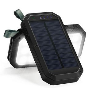 Solar Power Bank 10,000 mah wireless charger with High light Camping Light